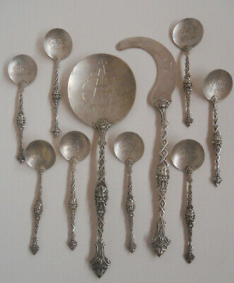 Antique Louis Wolfers Brussels Sterling Silver Ornate 10 Pc Dessert Set 1880