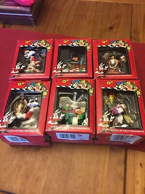 6 1996 Vintage Christmas Looney Tunes Ornaments