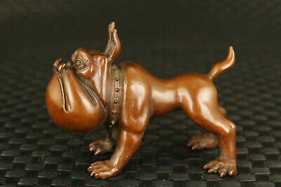 Chinese old red copper handcasting atrocious dog statue home decoration gift