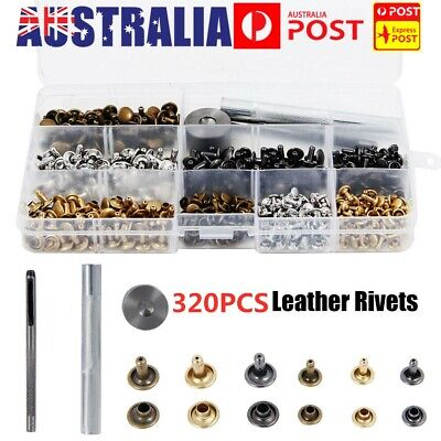 320 Set Leather Double Cap Rivets Tubular Metal Studs Fixing Tool Kit Craft New