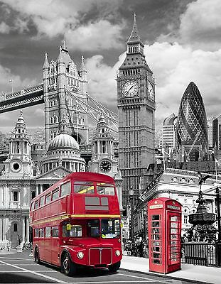 Black and White London landscape red Bus framed canvas print xmas gift C097