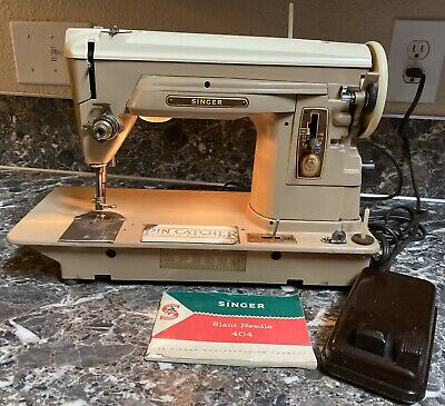 Singer 404 Sewing Machine Slant Needle + Foot Pedal Manual Preowned Tested Works