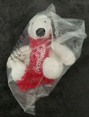 Coca-Cola-Mini White Polar Bear Red Scarf Arctic Plush Toy-NIP-