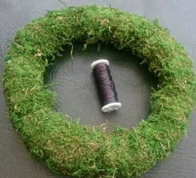 """1 x Moss Wreath Ring 10"""" and 1 x Spool of Florists Wire approx 45m Christmas Dec"""