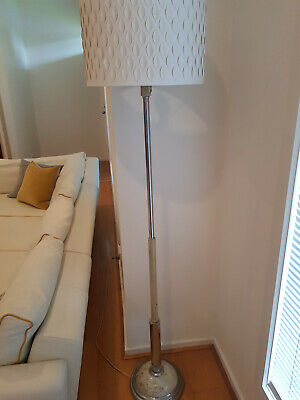 Art Deco Standard White Bakelite & Chrome Floor Lamp- Excellent Condition
