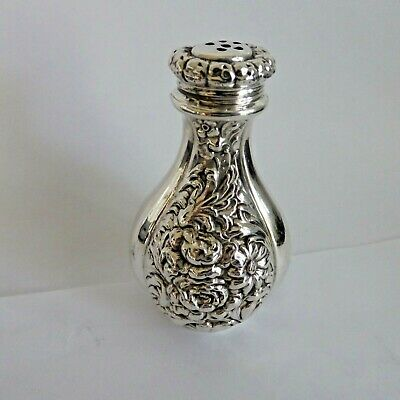 Vintage Sterling Silver Ornate Floral Repousse  3.25 Inches Tall Pepper Shaker