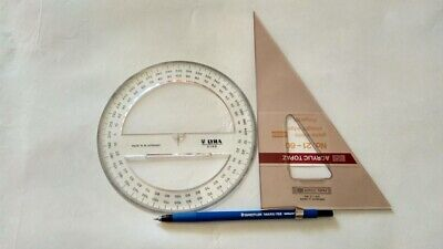 SET OF 3 PCS:Circular Protractor- Geometry Drawing Triangle-Staedtler Mars 788
