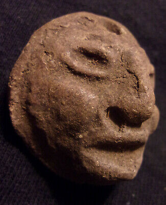 Precolumbian Pottery Head Bead Or Pendant (1-1/4 x 1-1/4 inches)