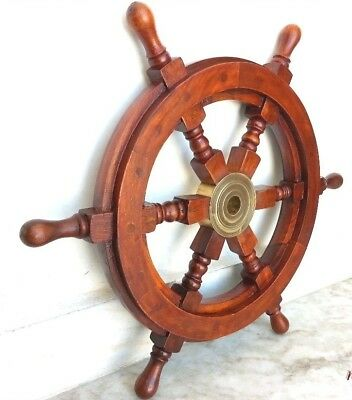 "Nautical Ship Wheel,Captain 18"" Brass/Wood Collectible Item"