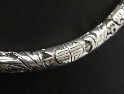 Antique Chinese Silver Collar Necklace Neck Ring Pierced Dragon Design