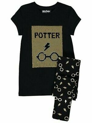 Harry Potter Swipe Sequin outfit Girls Short Sleeve glitter leggings long tshirt