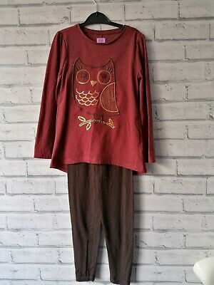 Owl Sequin Maroon Rose Gold Girls Outfit Top Leggings Age 6-7 good condition