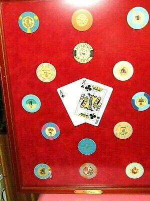 Wonderful Vint. 14 Framed Las Vegas Casino Chips Inc.frontier, Horseshoe & More!