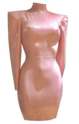 Latex Rubber Gummi Pencil Dress Sz 8-10s Baby Pink Long Sleeves