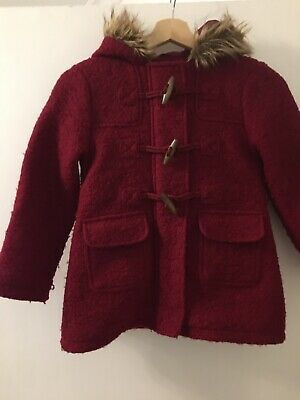 Girls Marks And Spencer Kids Winter Coat/ Jacket 7-8 Years Red