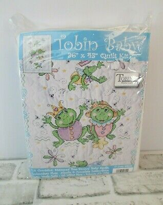 "Tobin Baby Quilt FROGS  Stamped Cross Stitch Kit NEW 43"" X 36""  T21722"