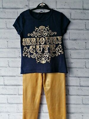 Seriously Cute Gold Glitter Navy Girls Set Outfit Age 7-8