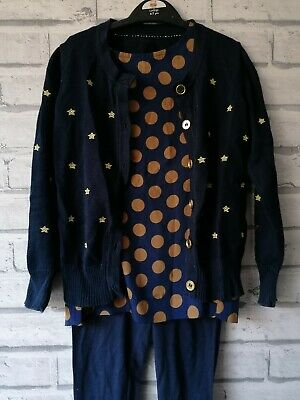 Gold Glitter And Navy Silk Cardigan Leggings Top Outfit Set Girls Age 5-6