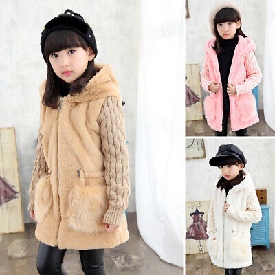 Children Kids Girls Winter Warm Hooded Outwear Coat Loose Overcoat Fluffy Jacket