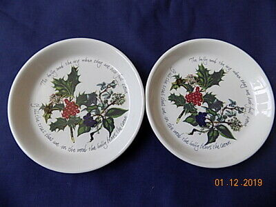 """2 x 1995 Portmeirion Pottery The Holly & The Ivy 4.5"""" sweet dishes - VGC"""