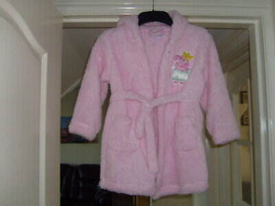 Girls Peppa Pig Hooded Dressing Gown New