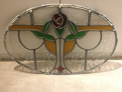 Oval Shaped Stained Glass Panel