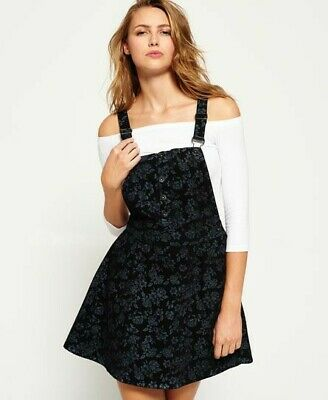 superdry black floral printed pinafore dungaree dress XS 8-10