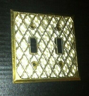 Vtg.1 Double Light Switch Plate Cover Mother of Pearl / Brass