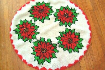 """Completed Latch Hook Christmas Poinsettia 36""""  Round Rug Vintage"""