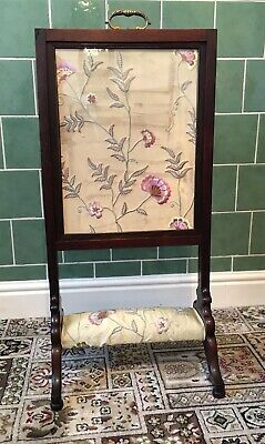 Antique Early Victorian Fire Screen - Adjustable Metamorphic Sliding Leave