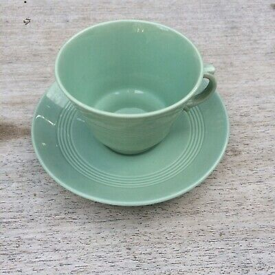 Woods Ware Beryl Coffee Cup & Saucer Vintage Utility China