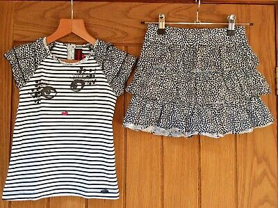CATIMINI Designer Girls Matching T-Shirt Top and Skirt Age 5-6