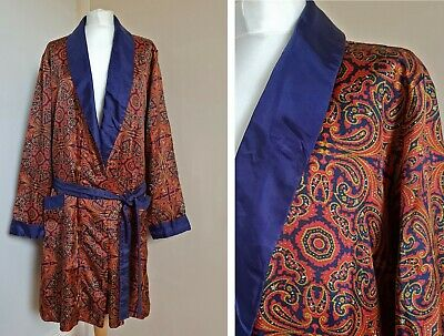 """Vtg 60's St Michael Psychedelic Paisley Silky Dressing Gown Smoking Jacket M 42"""""""