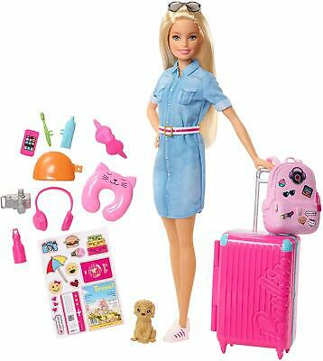 Barbie FWV25 Doll and Travel Set with Puppy, Luggage and 10+ Accessories,
