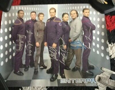Star Trek Autograph Hand Signed Poster Enterprise 6 Signatures