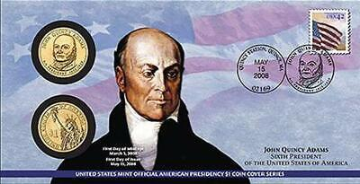 2008 P+D 1$ Presidential First Day Cover Sealed Envelope John Quincy Adams (P26)