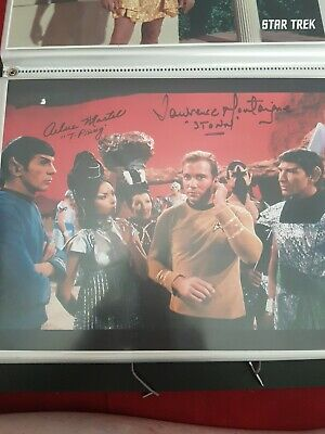 Star trek Hand signed autograph amok time. Arlene Martel and Lawrence montaigne.