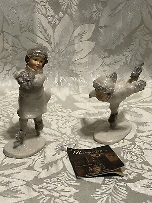 Bethany Lowe Boy & Girl Christmas Carolers Holding Christmas Tree Figurine