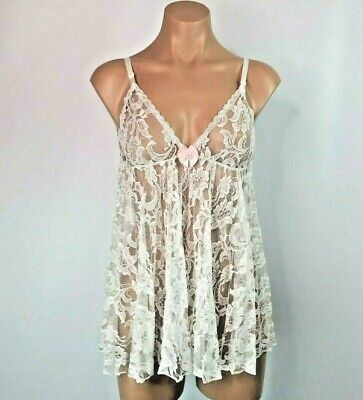 Frederick's Of Hollywood White Lace Babydoll VTG 80s USA MADE lingerie bridal