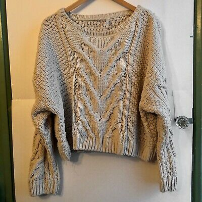 AEROPOSTALE Tan Beige Cable Knit Chenille Crew Neck Cropped Crop Sweater Small
