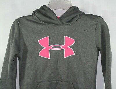 WOMEN/'S UNDER ARMOUR PINK HOODED COLDGEAR LOGO SWEATSHIRT 1262971 660 NEW