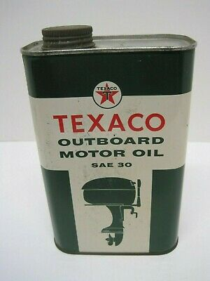 Vintage TEXACO Outboard Motor Oil Quart Square Can, Empty