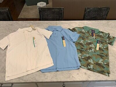 Lot 3 NWT Boys Polo Uniform Shirts Cherokee Target M 8-10 White Blue Camo SS