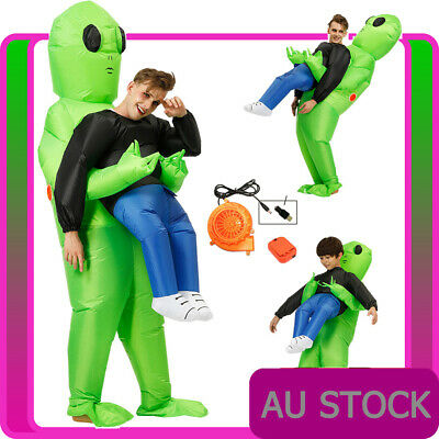 Adult Alien Inflatable Costume Mens Scary Halloween Green Blow Up Stag Book Week