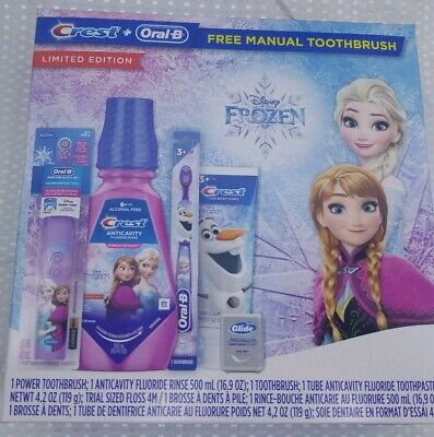 NIB ~ CREST + ORAL B Limited Edition DISNEY FROZEN Toothbrush Bundle Kit