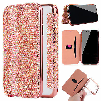 Luxury Bling Glitter Full Diamond TPU Wallet Card Case Cover For iPhone Xs 6 7 8