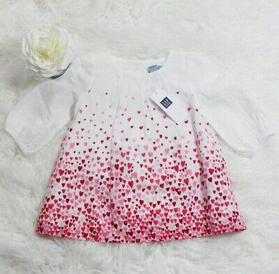 Baby Gap Girl/'s Modern Red Heart Print Pleated Dress Size 6-12 M NWT