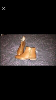 Girls Next Tan Leather Chelsea Boots Size 2