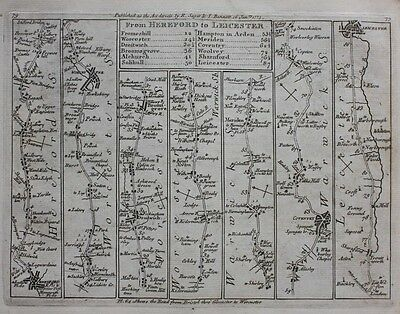 Original antique map HEREFORD TO LEICESTER & HUNTINGDON TO IPSWICH Jefferys 1775