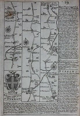 Antique road map YORKSHIRE, DURHAM, NORTHUMBERLAND, Owen & Bowen, 1724